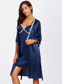 Crochet Trim Self Tie Kimono Robe With Slips