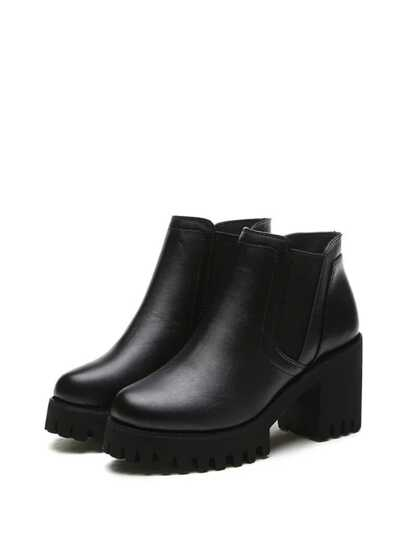 Faux Leather Platform Ankle Boots