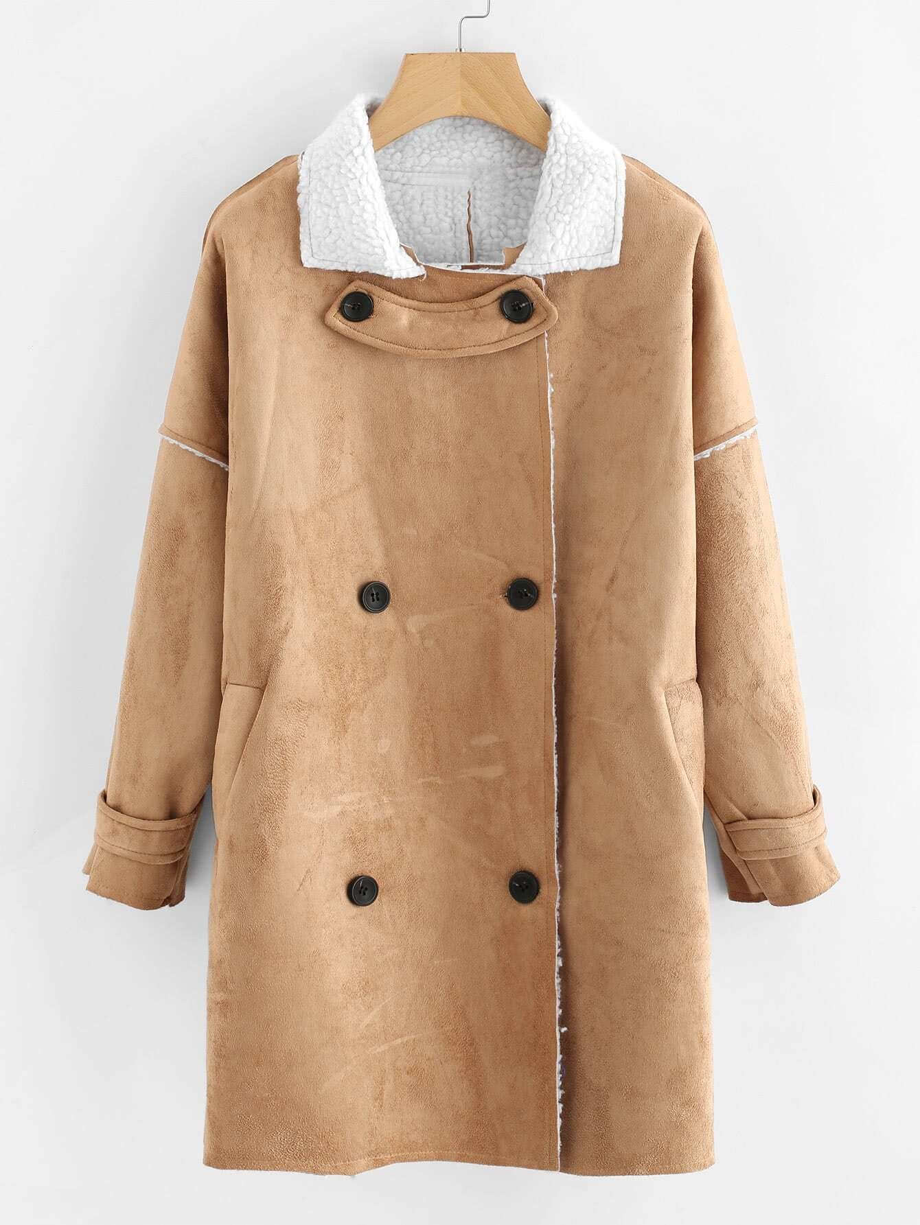 Drop Shoulder Double Breasted Sherpa Coat