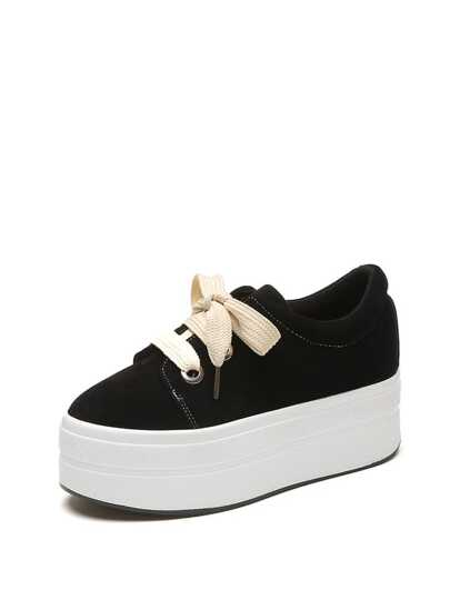 Lace Up Suede Flatform Trainers