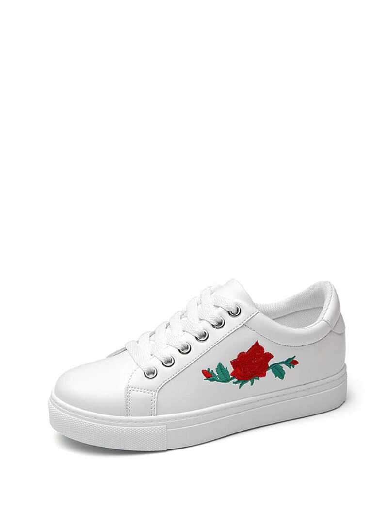 Flower Embroidery PU Lace Up Sneakers, White