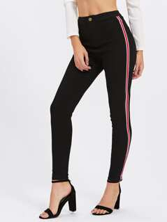 Striped Side Tight Jeans