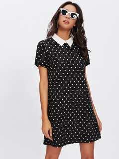 Contrast Collar Polka Dot Dress