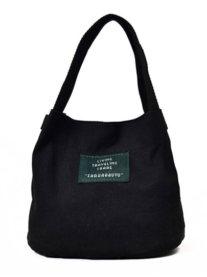 Letter Print Canvas Tote Bags