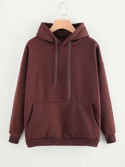 Drop Shoulder Kangaroo Pocket Hoodie