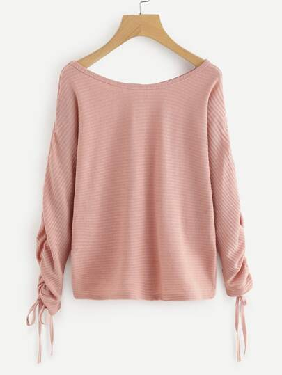 Drawstring Sleeve Sweater