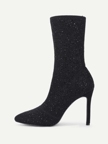 Rhinestone Detail Net Stiletto Boots