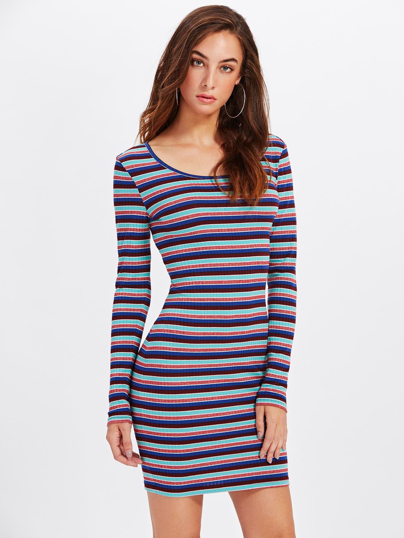 Rib Knit Striped Bodycon Dress dress171016713