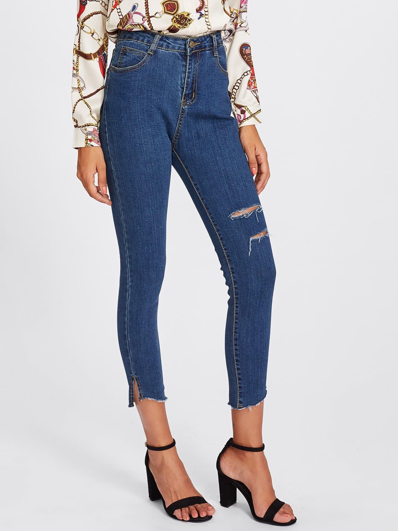 Raw Hem Knee Rips Skinny Jeans