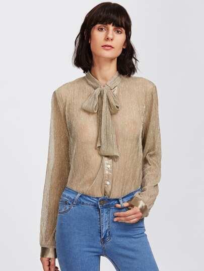 Metallic Glitter Tied Neck Button Up Blouse
