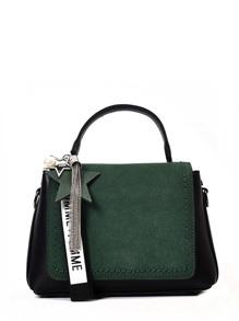 Two Tone Star Tassel Detail Flap Crossbody Bag