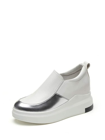 Contrast Panel PU Hidden Wedge Sneakers