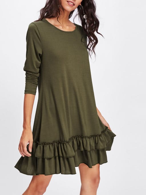 Layered Frill Hem Knit Dress frill layered pearl detail sweatshirt dress