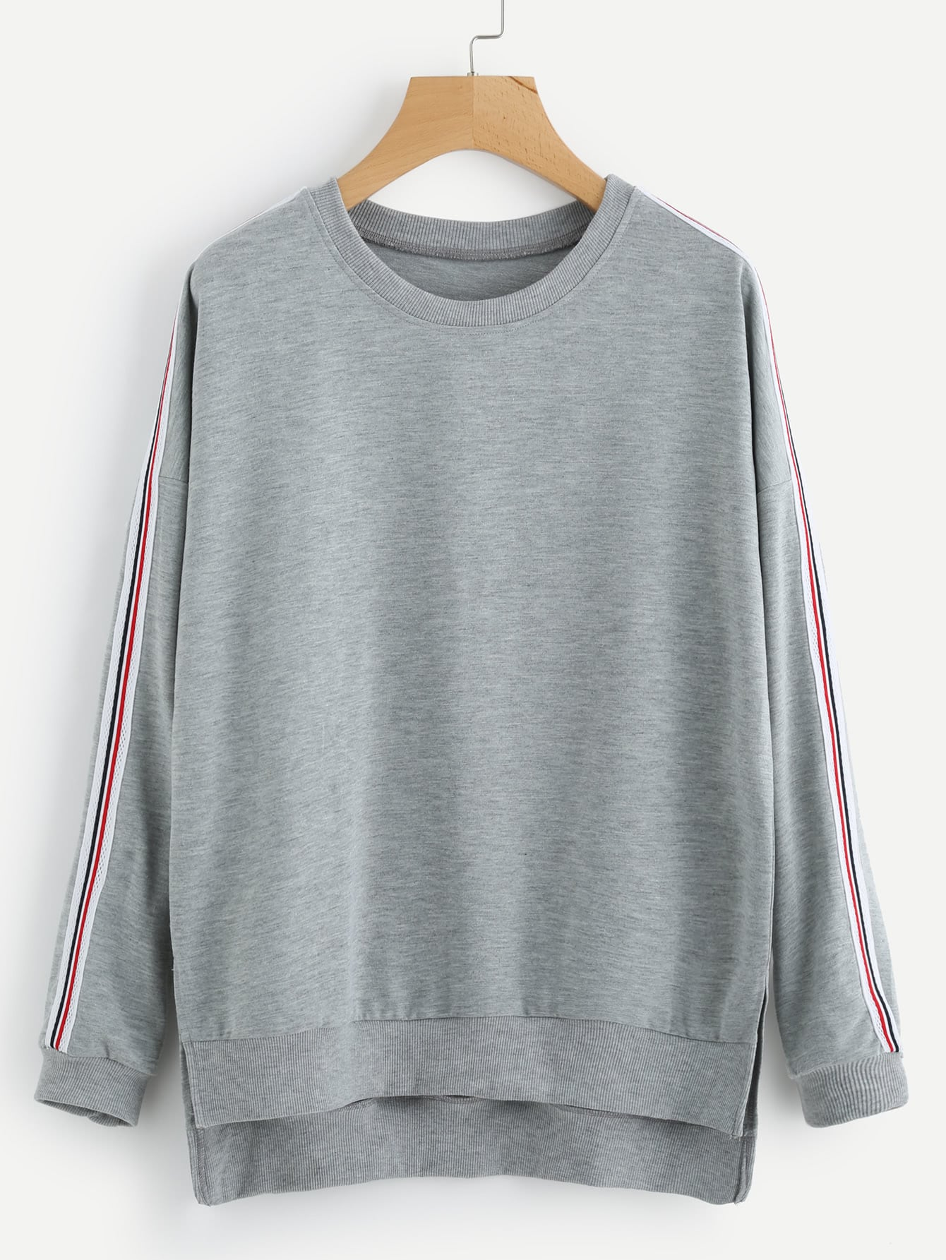 Side Striped Dip Hem Split Sweatshirt чайник bosch twk 6002