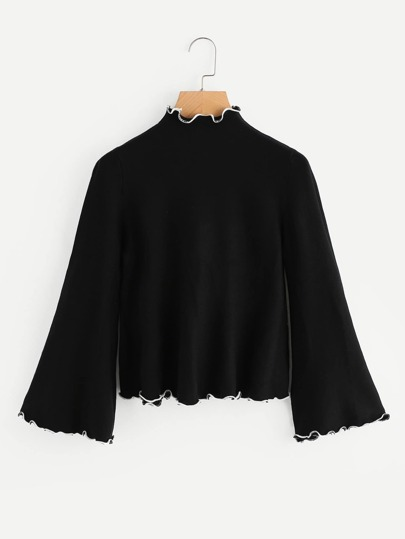 Bell Sleeve Frill Trim Knit Sweater