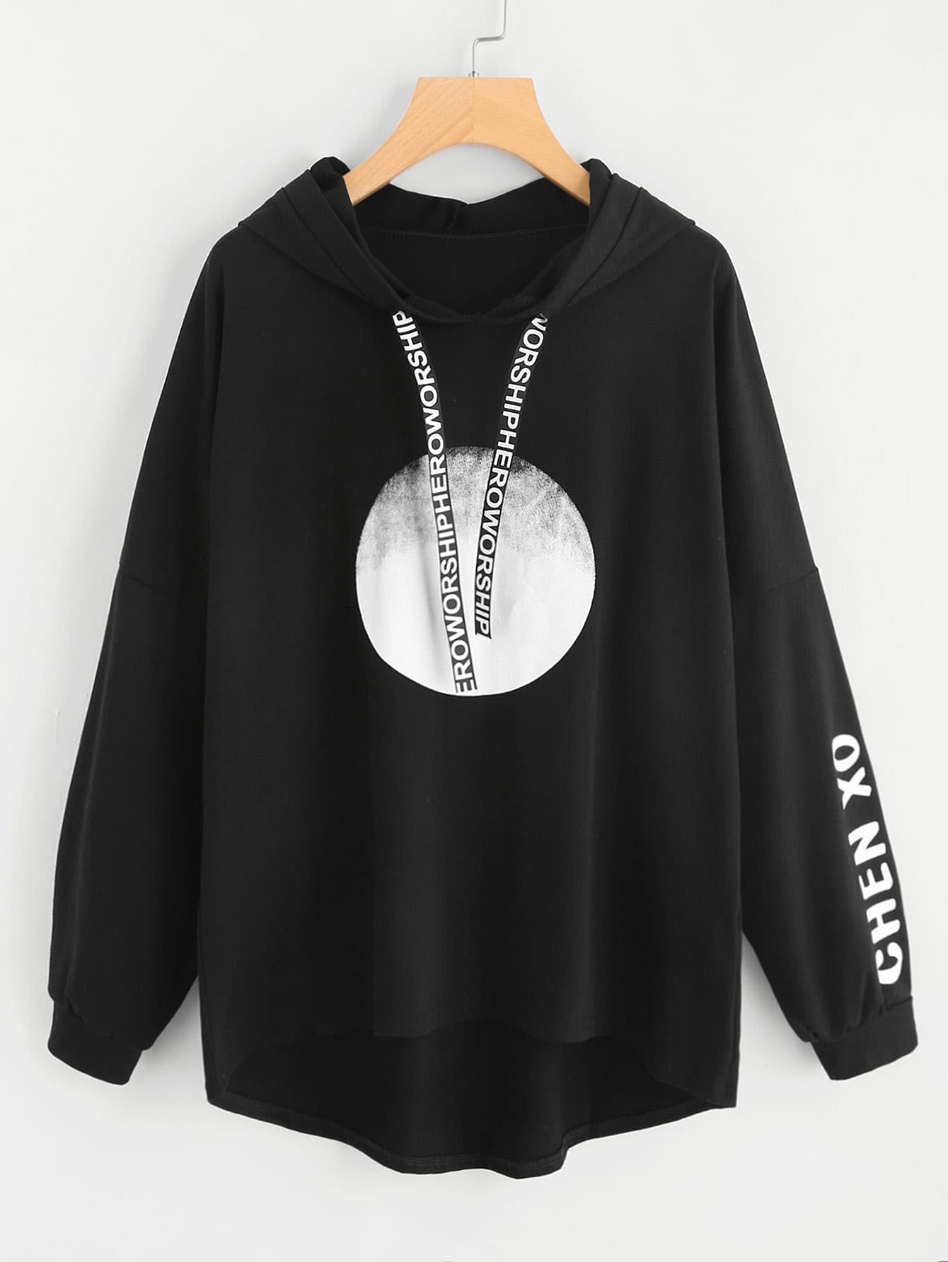 Letter Tape Detail Drop Shoulder Dip Hem Hoodie drop shoulder frill hem batwing sweatshirt