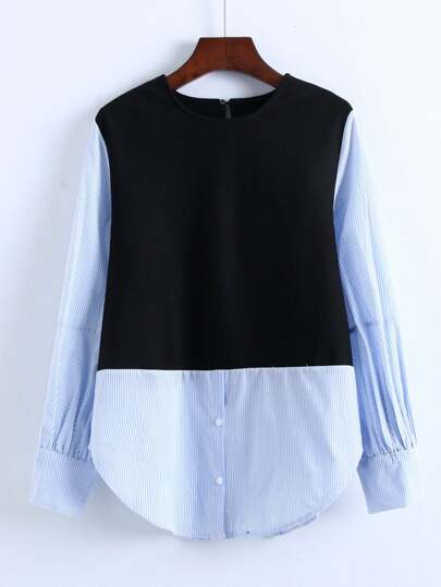 Dolphin Hem 2 In 1 Striped Blouse