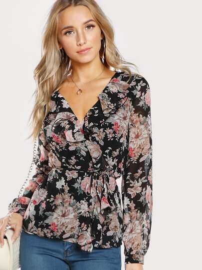 Frilled Neckline Surplice Wrap Top