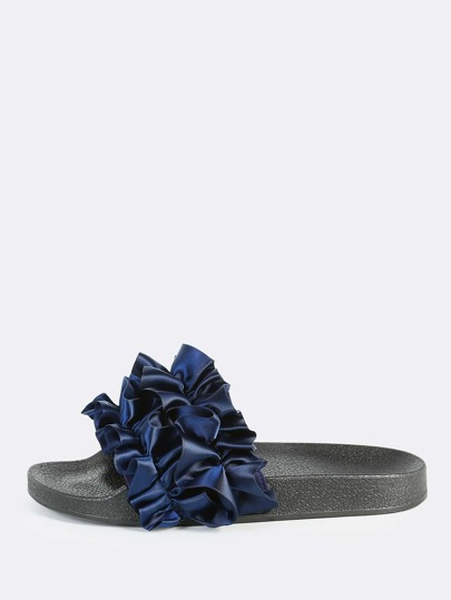 Satin Crinkle Band Slides NAVY