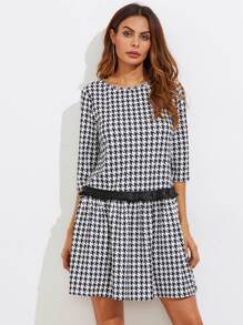 Frilled Patched Waist Houndstooth Dress