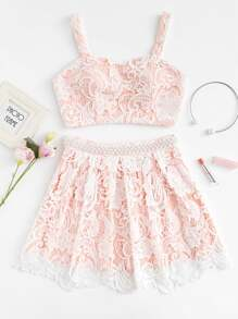 Flower Lace Overlay Crop Top & Beaded Skirt Set