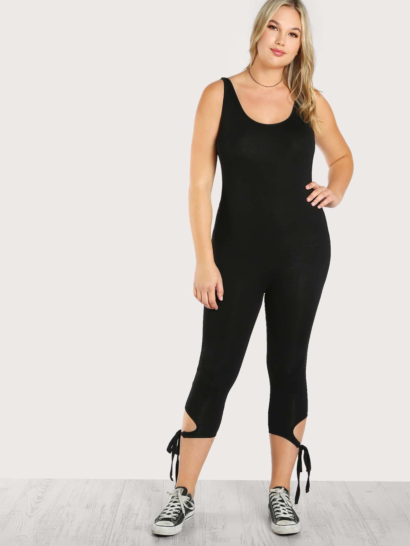 Image of Solid Leg Tie Tank Jumpsuit