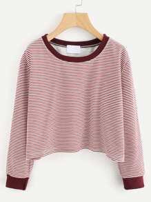 Contrast Trim Drop Shoulder Striped Crop Pullover