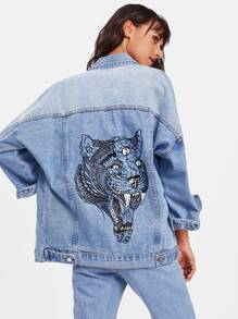 Bleach Wash Tiger Print Drop Shoulder Denim Jacket
