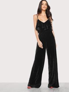 Velvet Cold Shoulder Jumpsuit BLACK