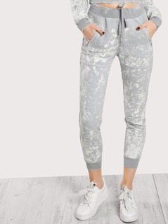 Jersey Knit Distressed Marble Pants GREY