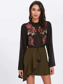 Embroidered See Through Dot Jacquard Blouse