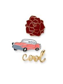Car & Flower Design Brooch Set