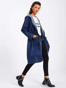 Drawstring Waist Hooded Denim Coat
