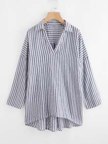 V Placket Drop Shoulder Striped Shirt