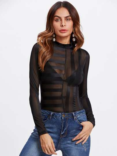 Striped Sheer Mesh Blouse