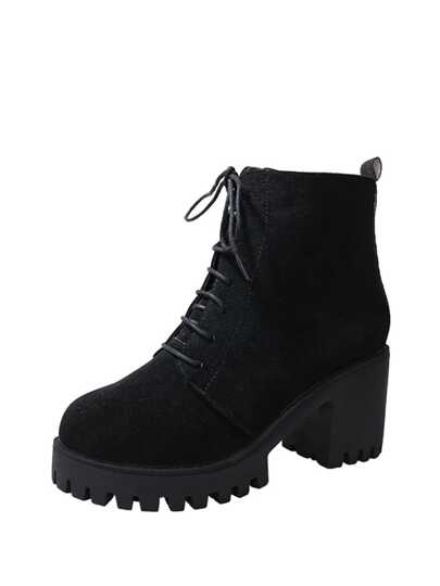 Side Zipper Lace Up Ankle Boots