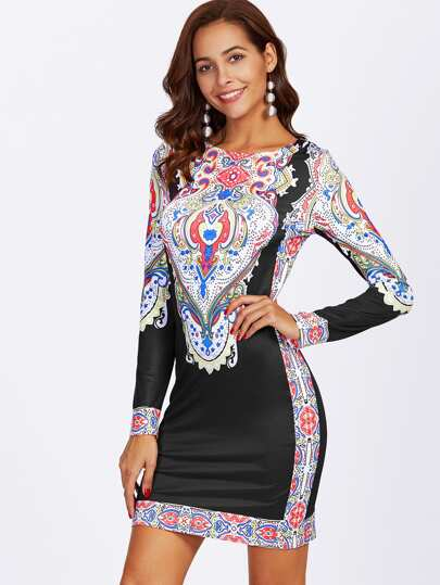 Ornate Print Slim Fit Dress