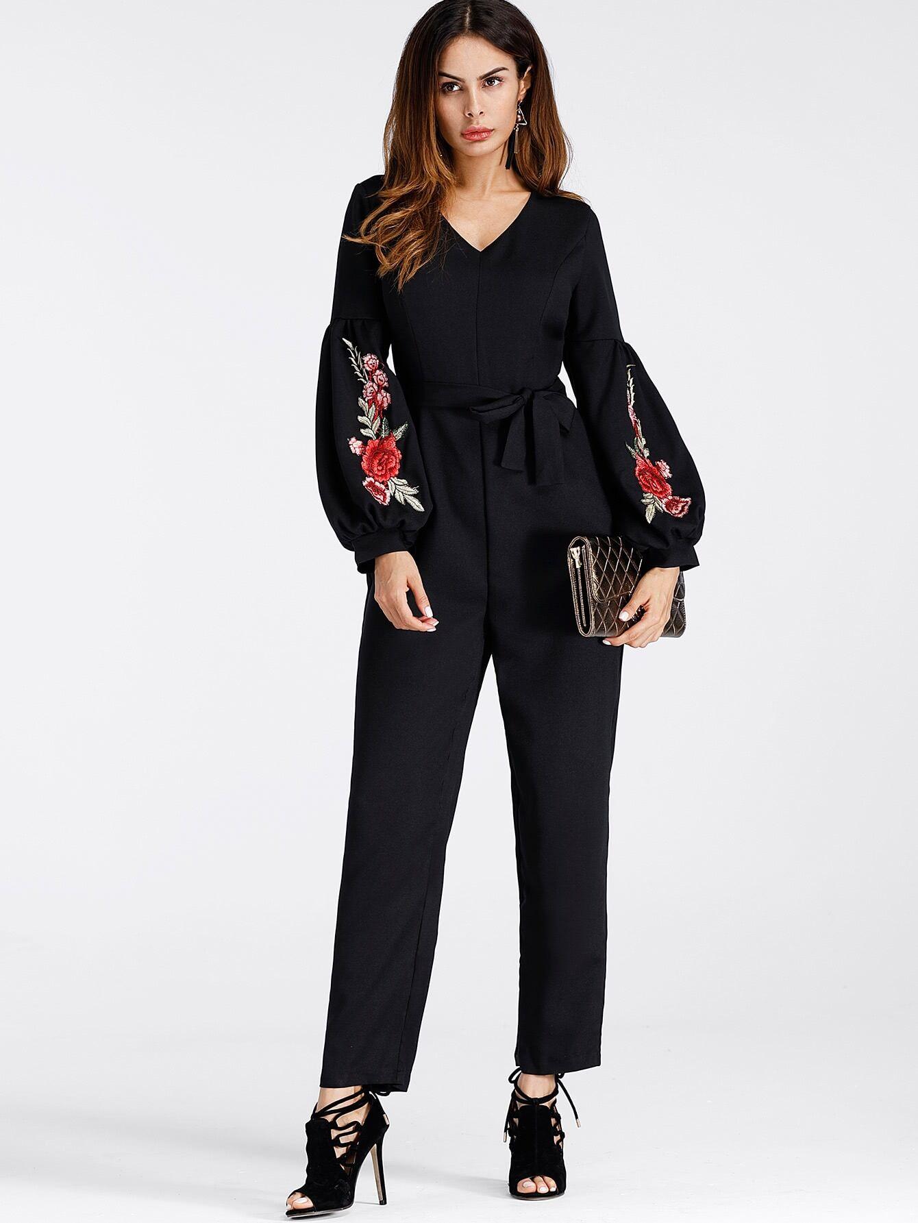 Lantern Sleeve Embroidered Rose Applique Jumpsuit With Belt embroidered rose applique side split belt dress