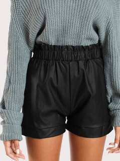 Ruched Waist Shorts BLACK