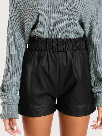 Ruched Waist Shorts BLACK