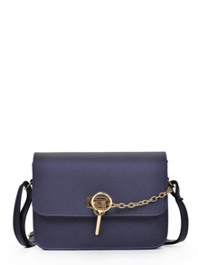 Metal Detail Flap Shoulder Bag