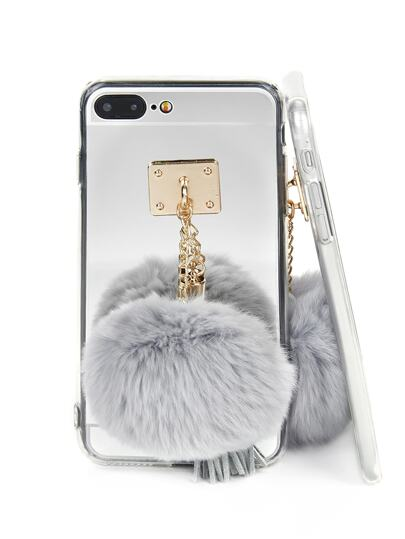 Mirror iPhone Case With Pom