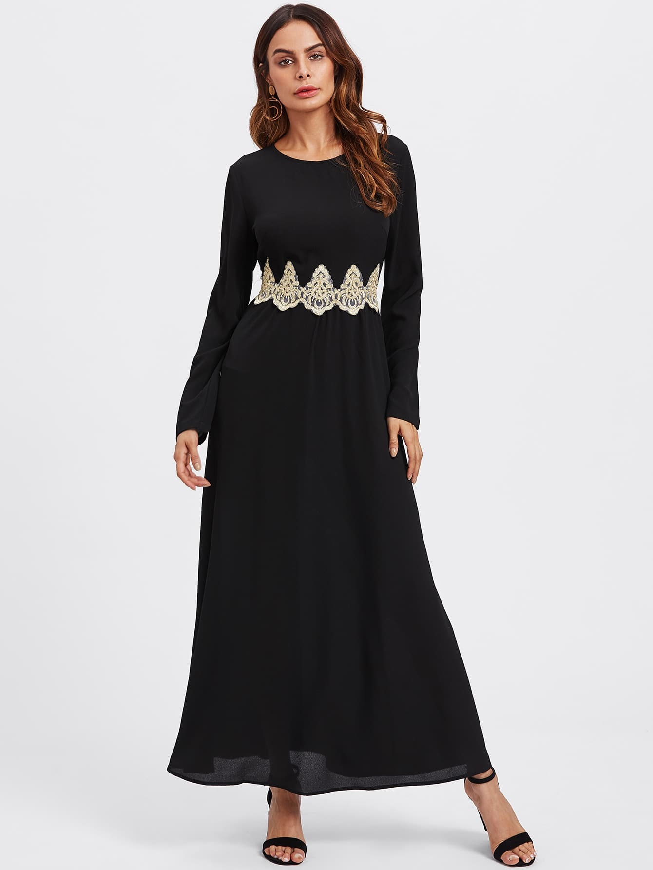Lace Applique Hijab Evening Dress