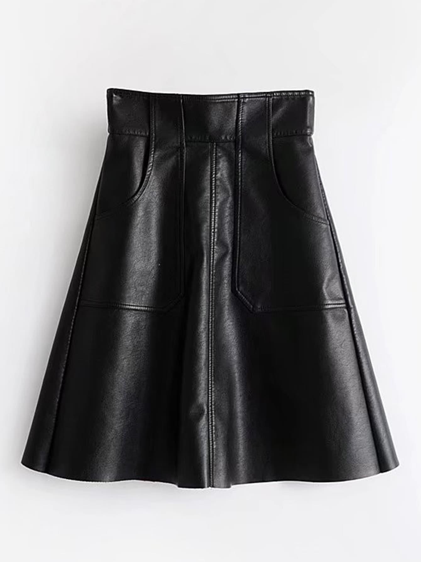 Zipper Back PU Flared Skirt zip back flared pants