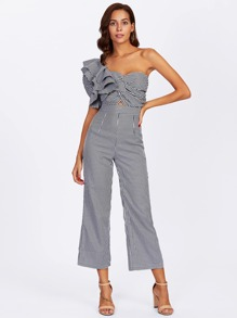 One Side Flounce Sleeve Twisted Striped Jumpsuit