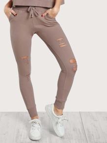 Distressed Drawstring Pants DUSTY ROSE