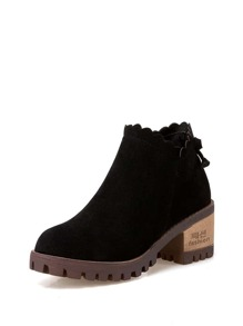 Suede Scallop Edge Platform Ankle Boots