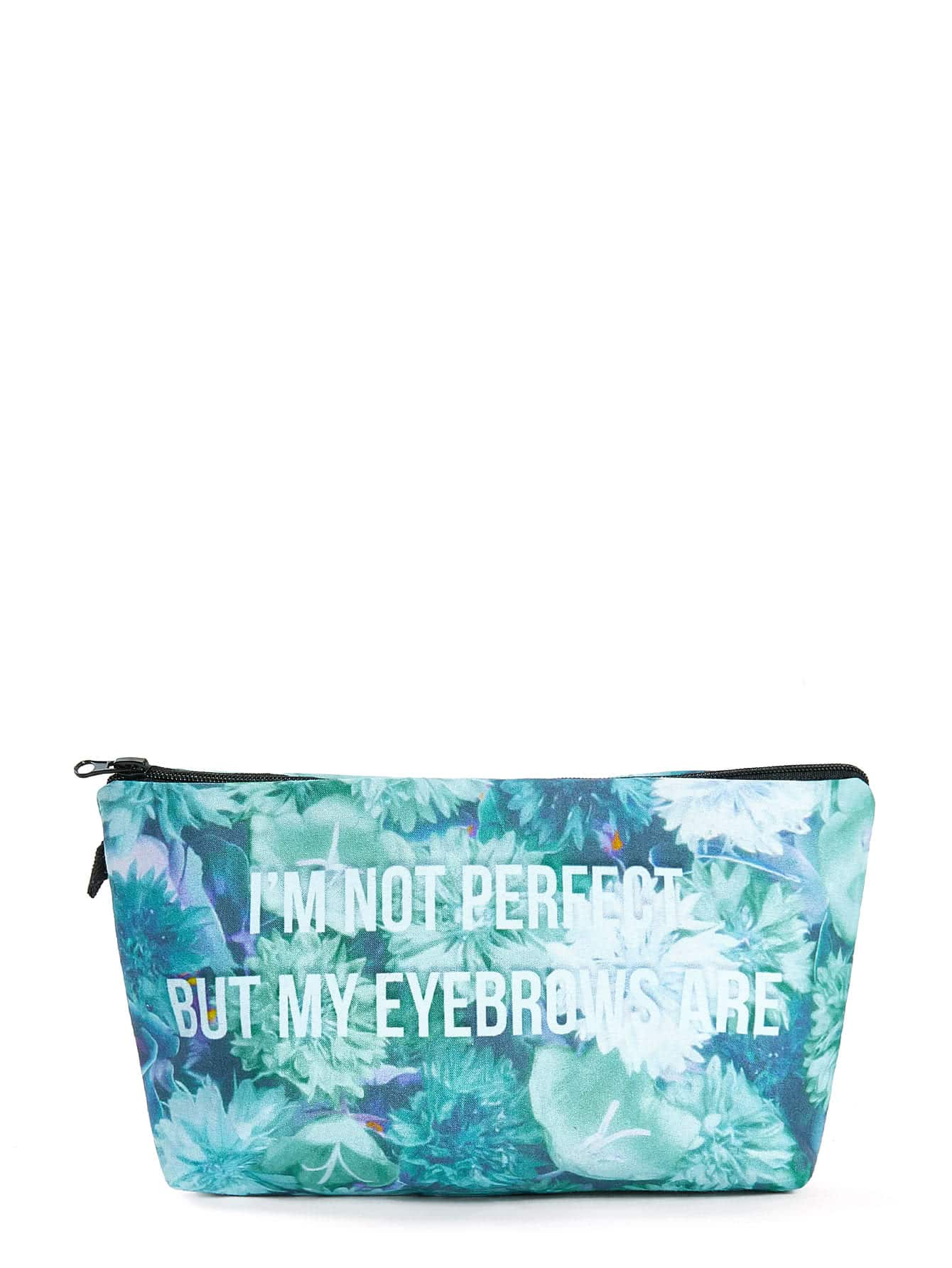 Slogan Print Zipper Pouch
