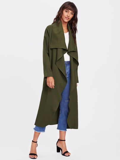 Self Tie Slit Side Waterfall Duster Coat