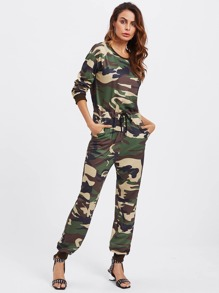 Camo Print Drawstring Waist Sweat Jumpsuit